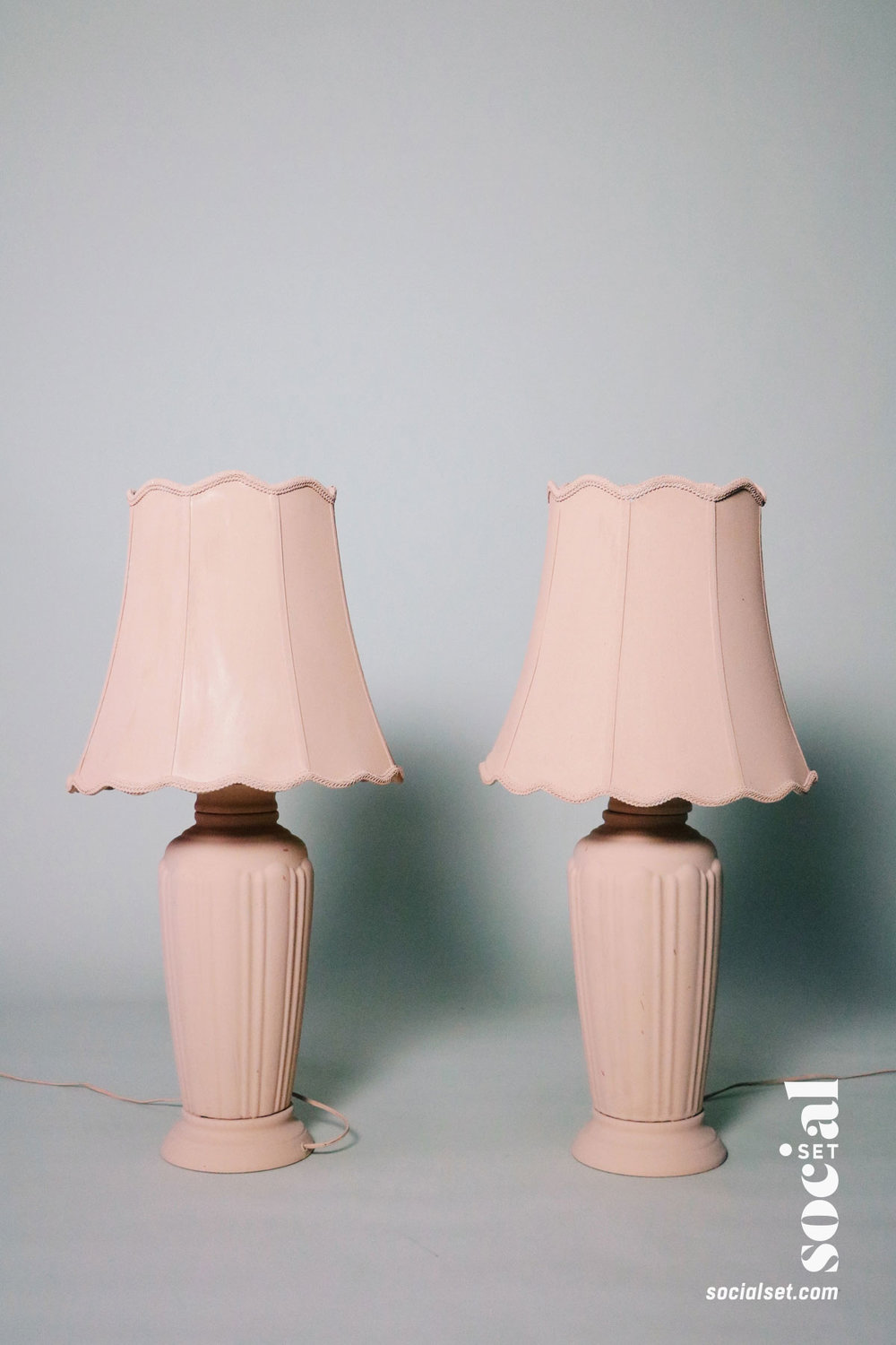 Hand Painted Rose Pink Lamps