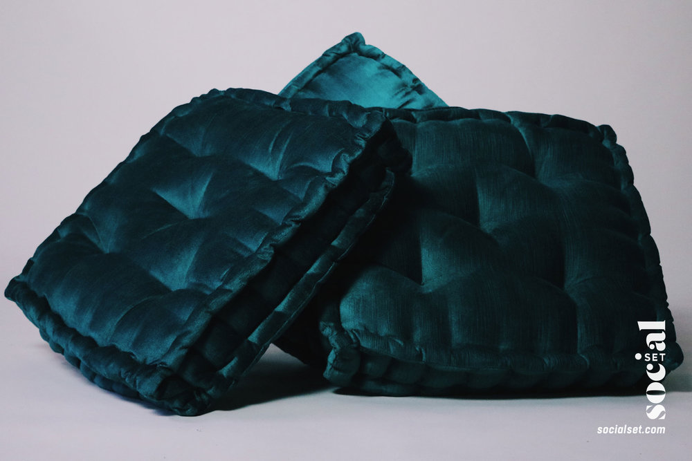 Emerald Green Velvet Floor Pillows
