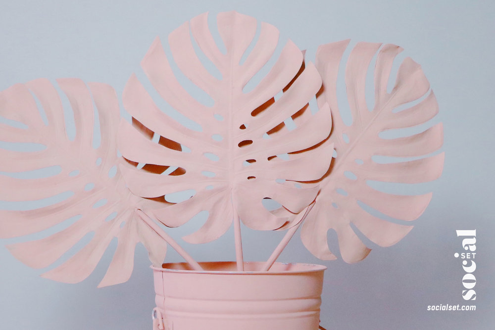 Photo Booth Props - Pink Tropical Leaves