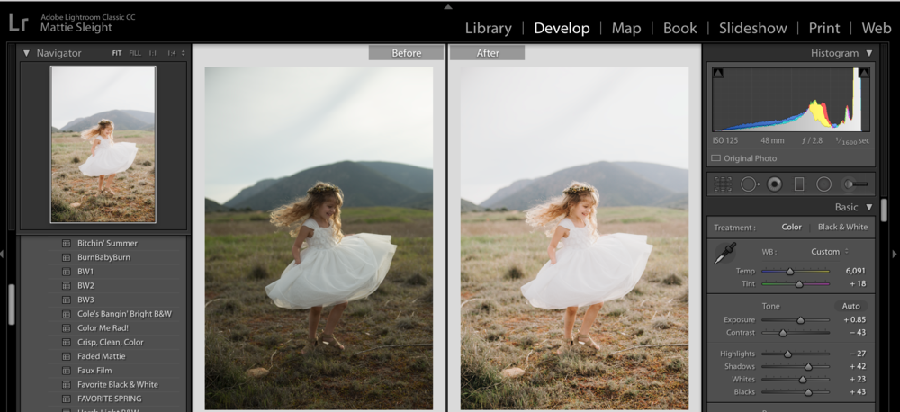 This is a before and after of an image I edited in Lightroom.
