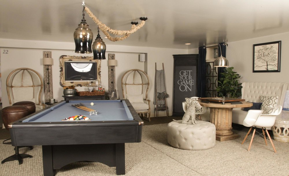 Open concept basement game room with pool table