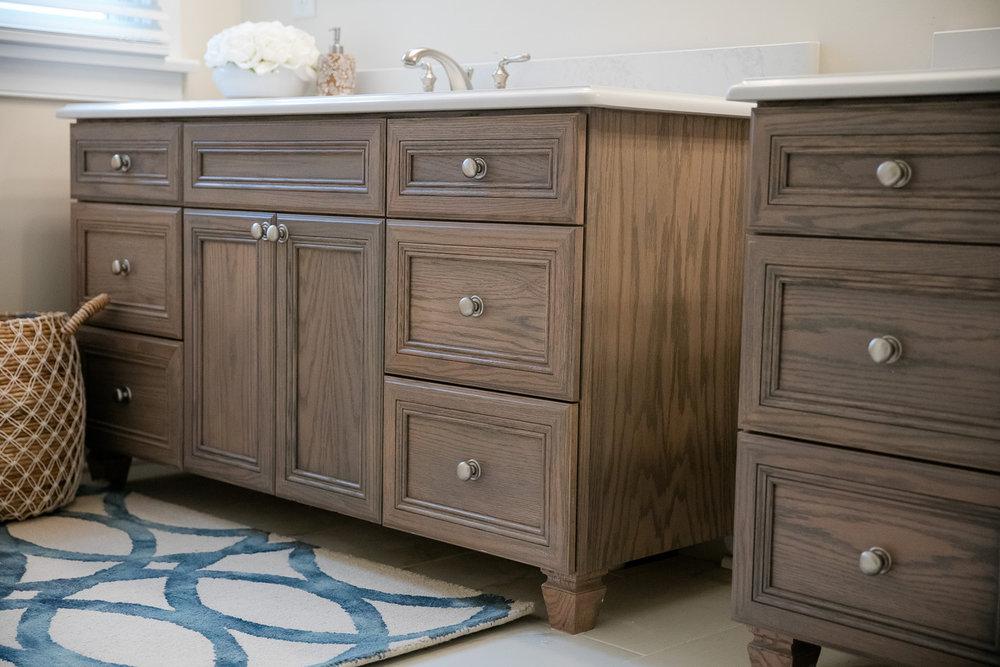 Brown wooden bathroom sink cabinets