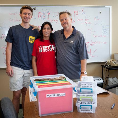 Wayne Baer and Max Baer (BHS '17), present Karuna Parmar (BHS-PLTW, CAD Drafting Teacher) STEM Technology Starter Kits