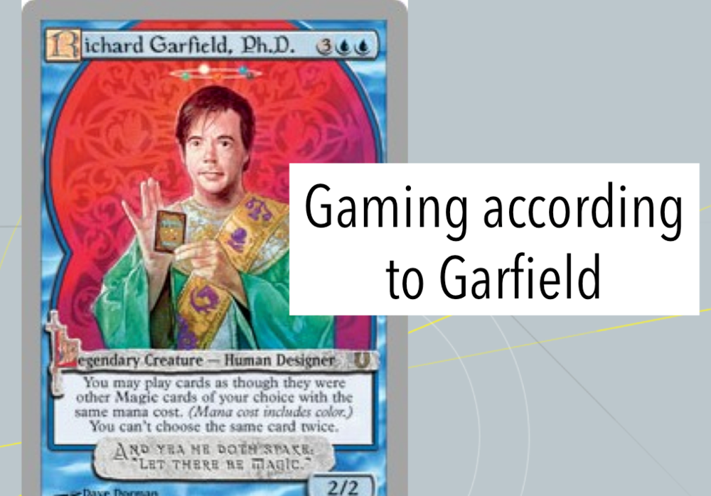 Gaming according to Garfield (video) - Video summary of article by same name. Learn about Dr. Garfield's game design philosophy.Video - April 18, 2018