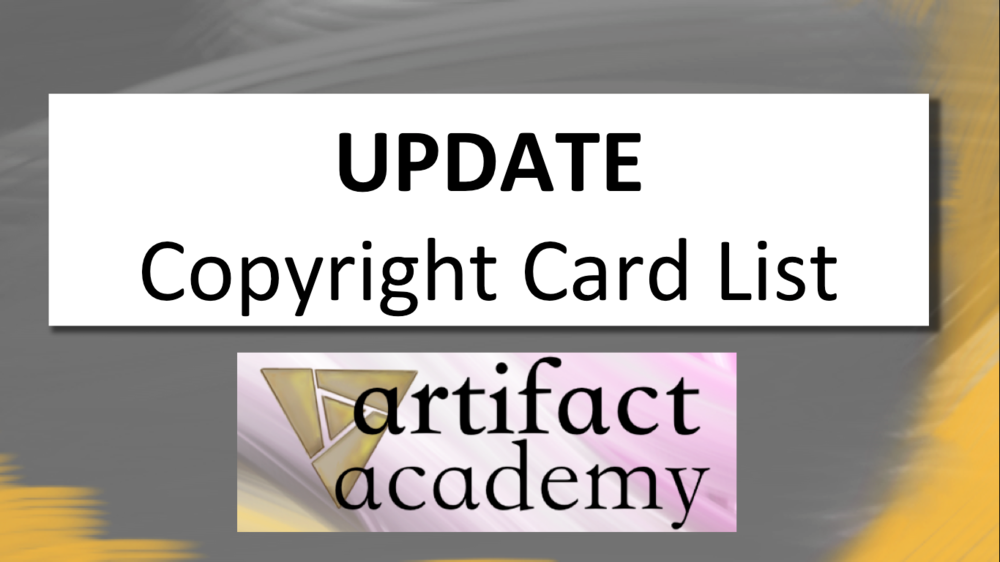 UPDATE: Copyright Card List - Neon went back to check on the copyright listings, and it delivered!Video- June 14, 2018