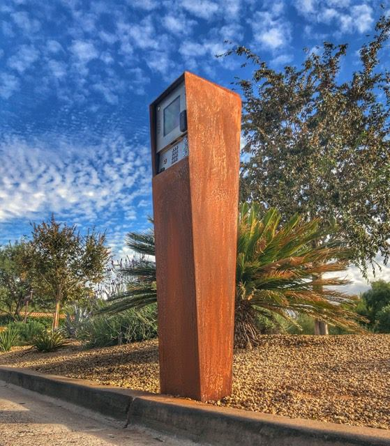Custom steel community security gate call box housing, patina finish, installed in Paradise Valley, AZ - 2018