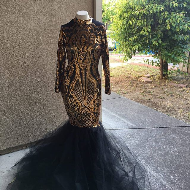 InStitches Tailoring and Alterations Prom projects black n gold pro-tip. If you don't see a dress that excites you, buy one that does and glam it up. We added a tulle skirt to Taylor's dress and Bam! Insta-prom! Let us help you get excited!www.msinstitches.com/book  #vallejo#seamstress#Alterations#tailoring#msinstitches#prom#blackandgold#blackdress