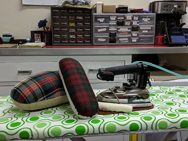 These are my favorite tools of the trade. My iron, pressing ham, and seam roll. They keep your items from looking homemade. What do you use to get things done?Tell me about it below.