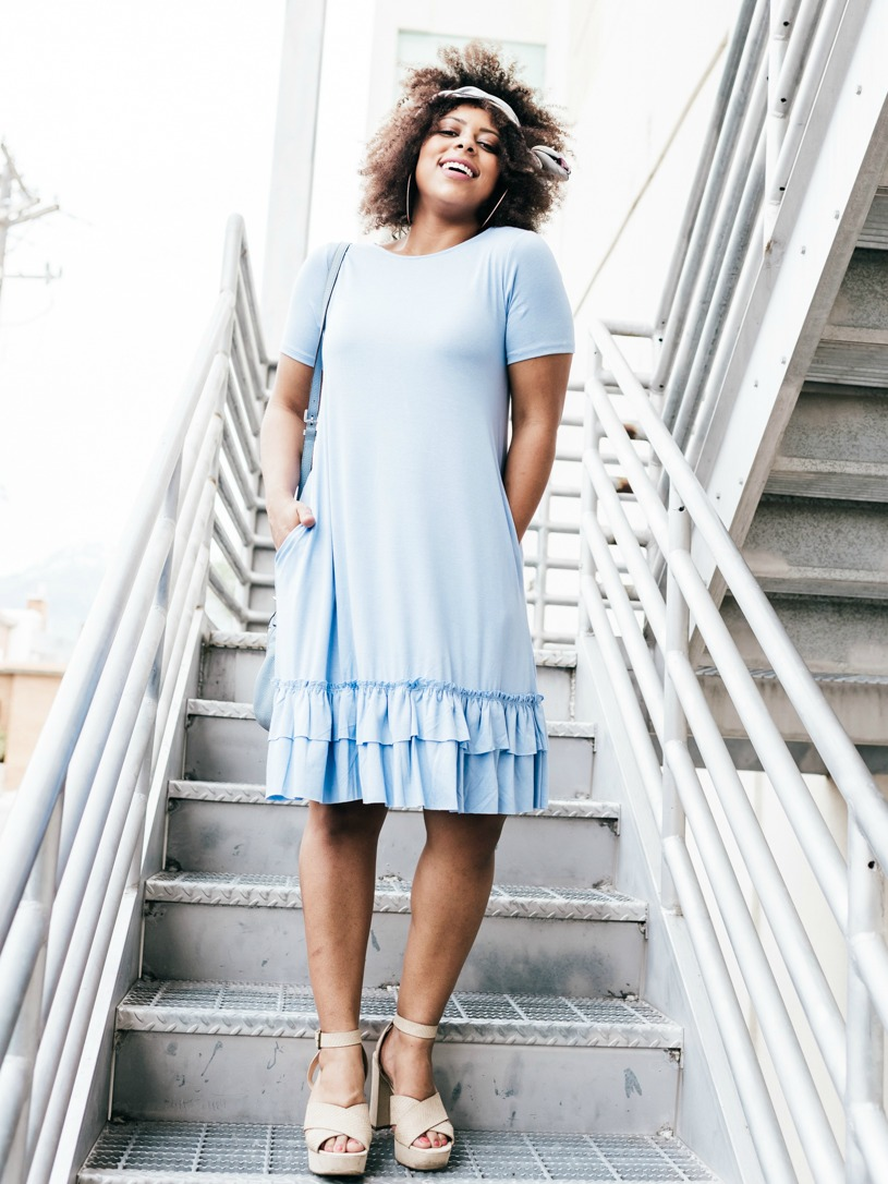 Flirty Ruffle Dress in Spring Blue