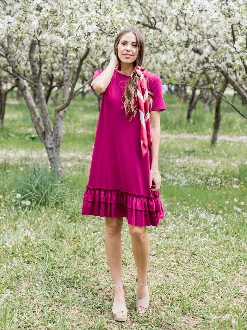 Flirty Ruffle Dress in Wine