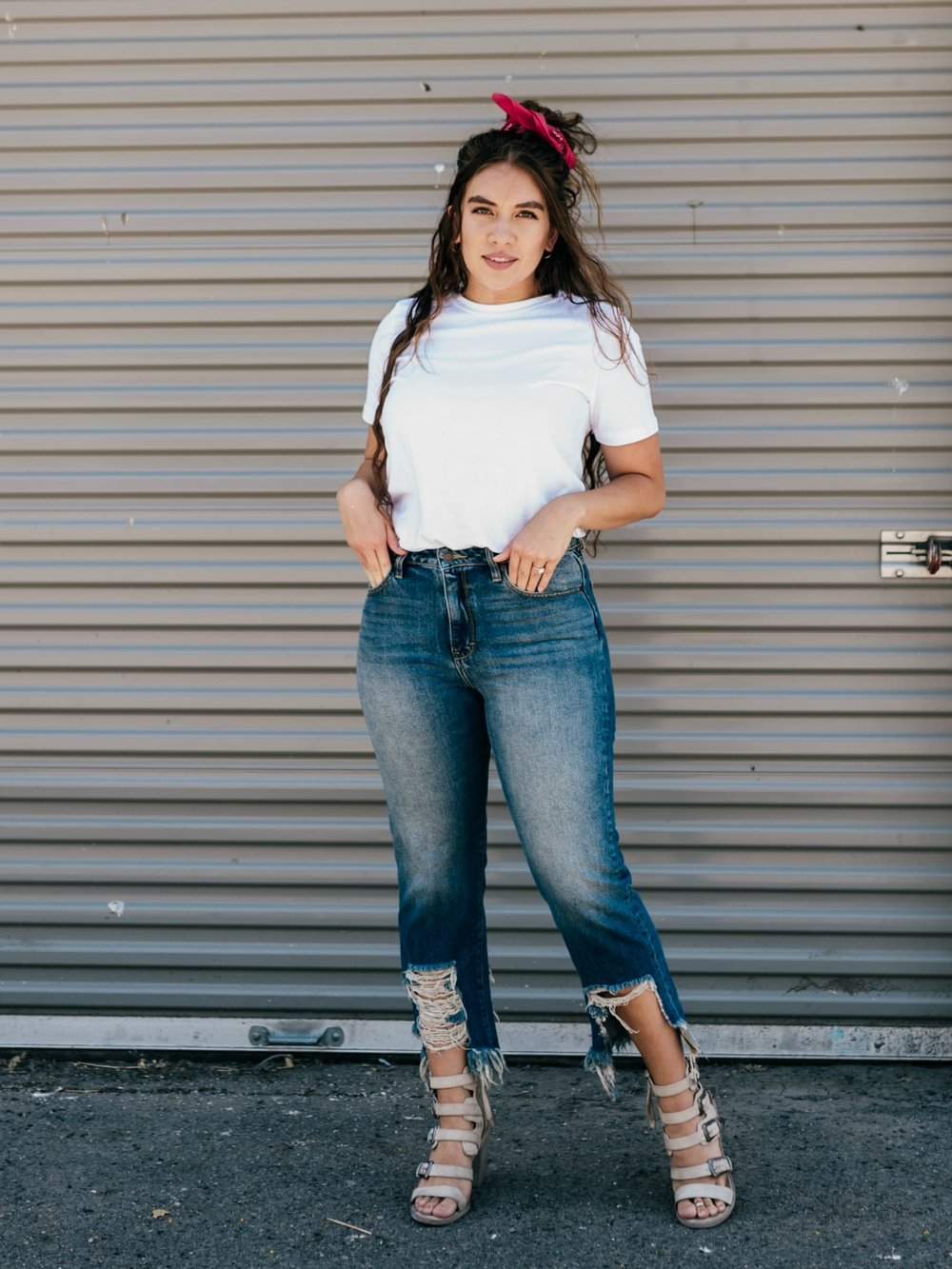 Distress Me High-Waisted Jeans  Model is 5'10 wearing a size 30