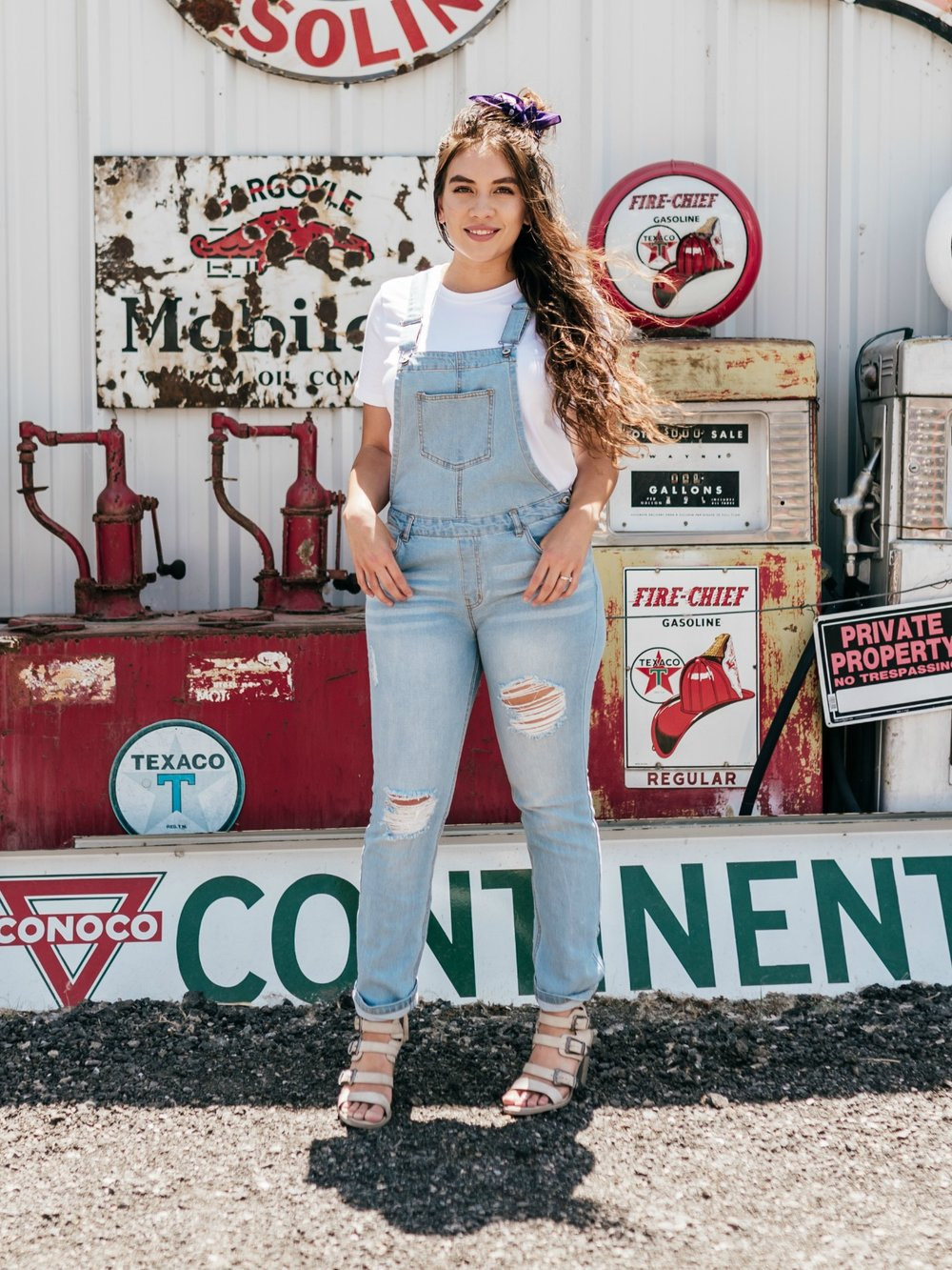 Better In Denim Light-Wash Overalls  Model is 5'10 wearing a size large.