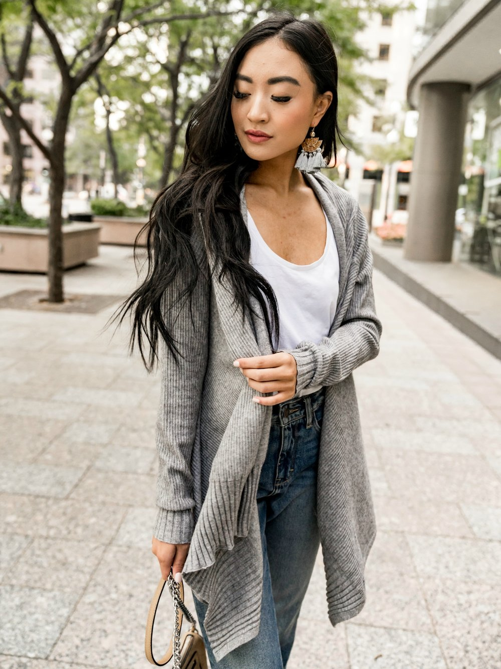 Must Have Ribbed Cardigan in Grey   Also available in  Black