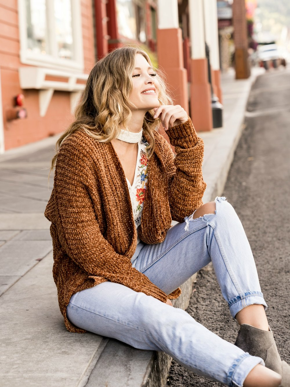 Chenille Cardigan in Cinnamon   Also available in  Wine , and  Blush .