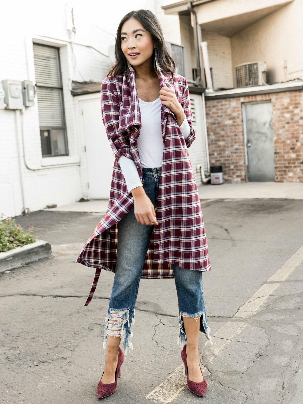 Plaid Trench in Plum Burgundy Combo