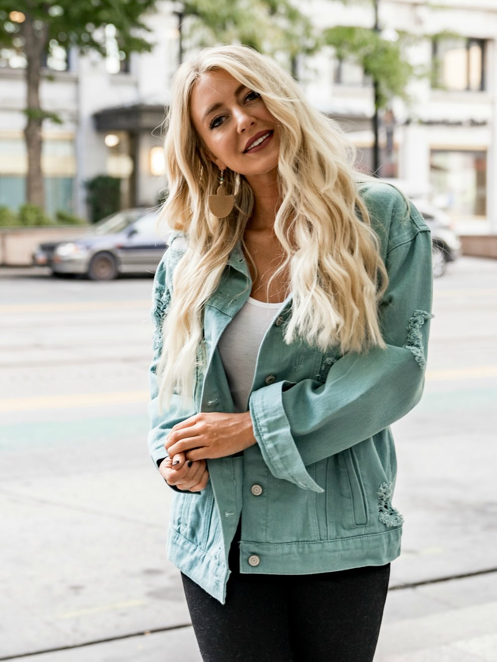 The Luna Denim Jacket in Teal
