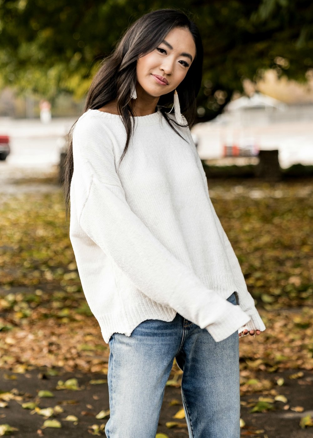 Scalloped Hem Sweater in  Ivory    All available in  cinnamon ,  mustard ,  red , and  navy .