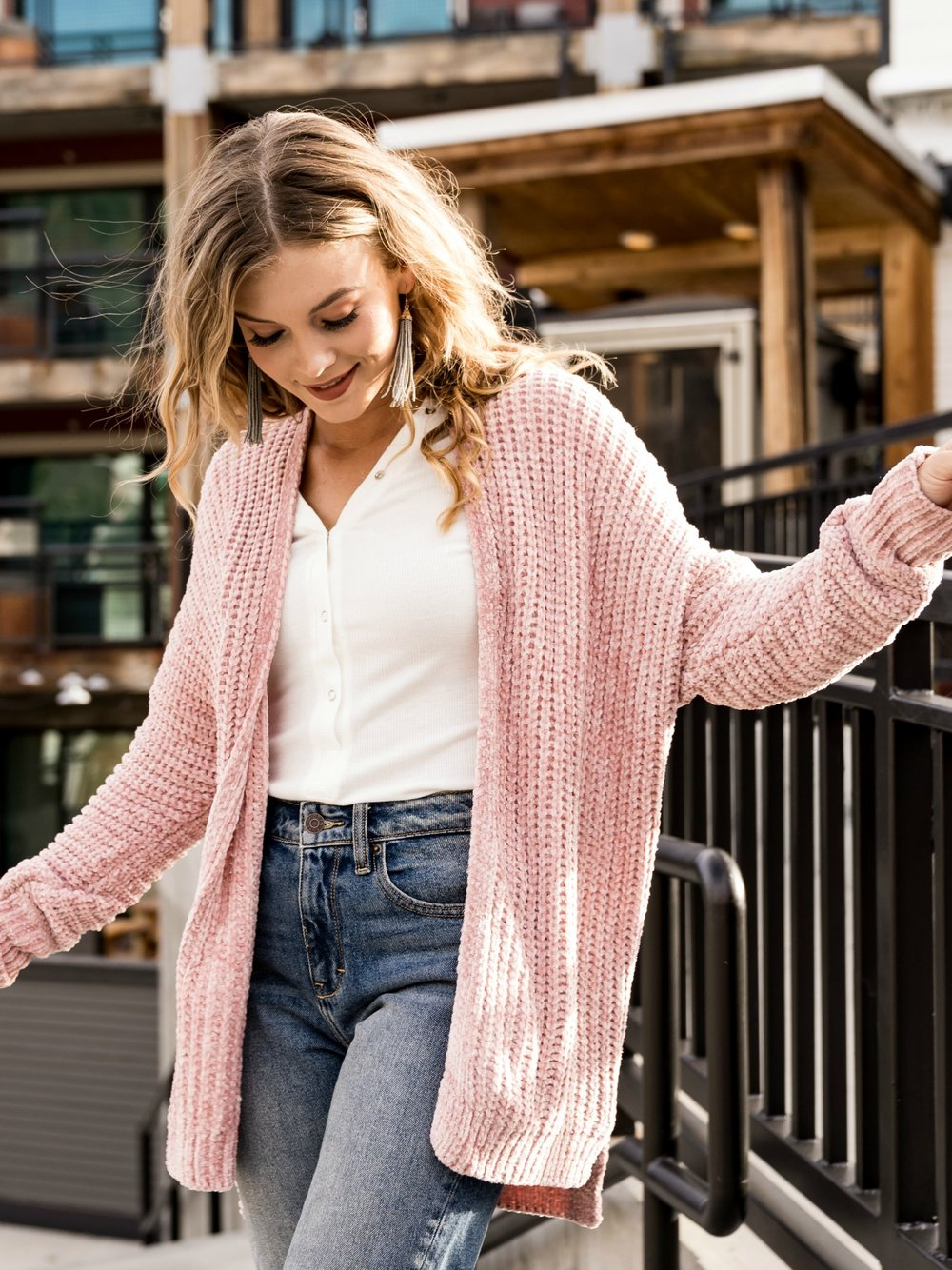Chenille Cardigan in  Blush    Also available in  Wine  and  Cinnamon .