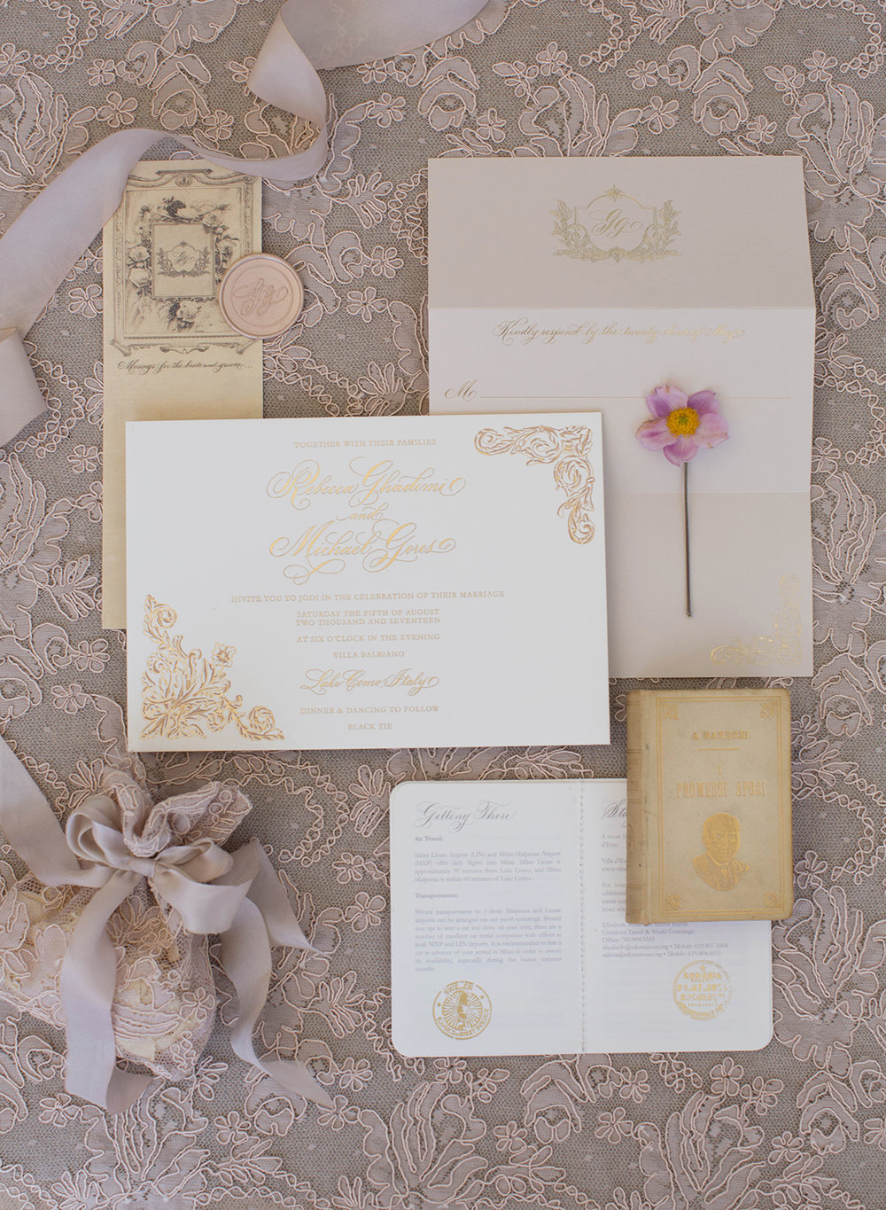 - Guests were seated on draped chairs with sheer fabrics to create a romantic Italian garden ambience. Petals for the flower toss were packaged in beautiful lace crochet bags.  The couple chose a classic muted French hand painted stationery suite.