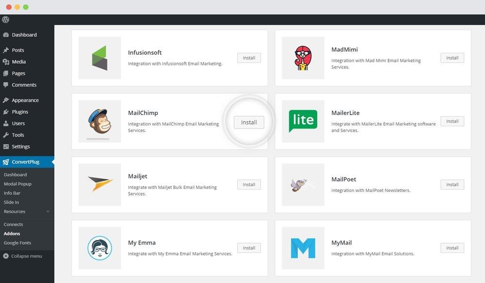 MailChimp Plugin in Wordpress