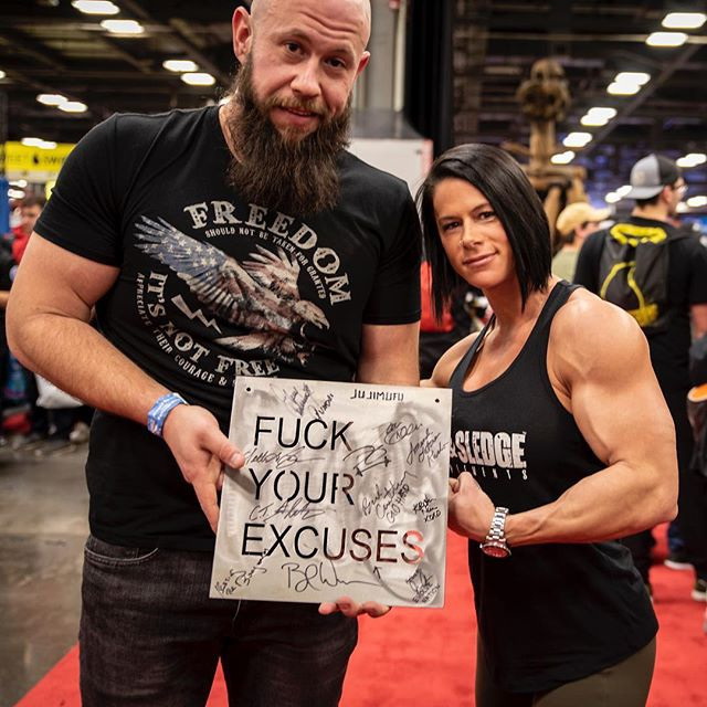 Like the sign says... - - - #fuckyourexcuses #girlswholift #gymmotivation #fuckskinnygethuge #bodybuildingmotivation #asf2019 #arnoldclassic2019