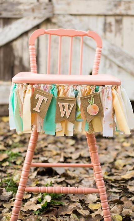 Peach Vintage High Chair $35.00  Rent a Banner: $15.00  Colors based on availability  Colors: Pink,purple, turquoise