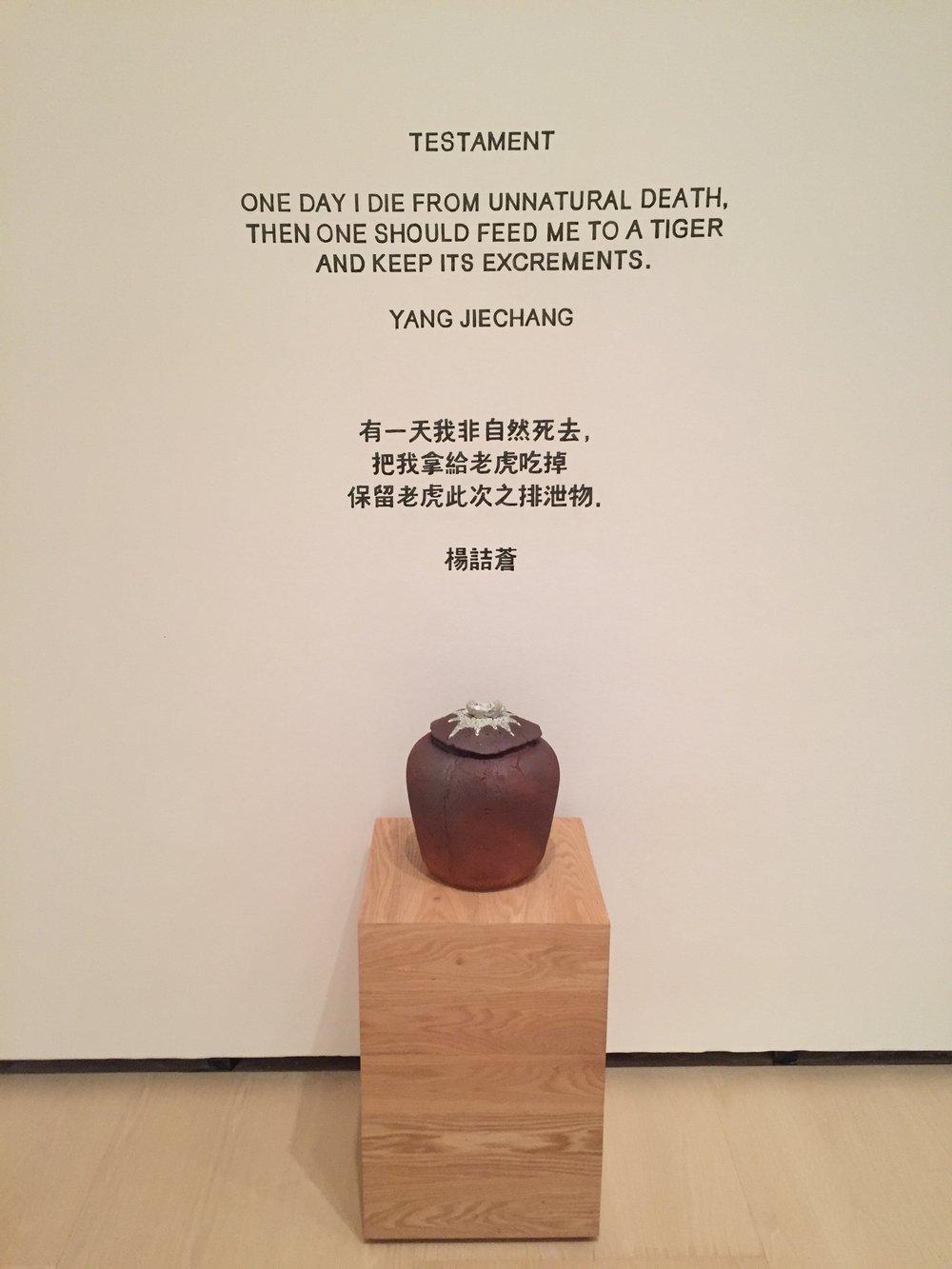 Yang Jiechang, Testament , 1991