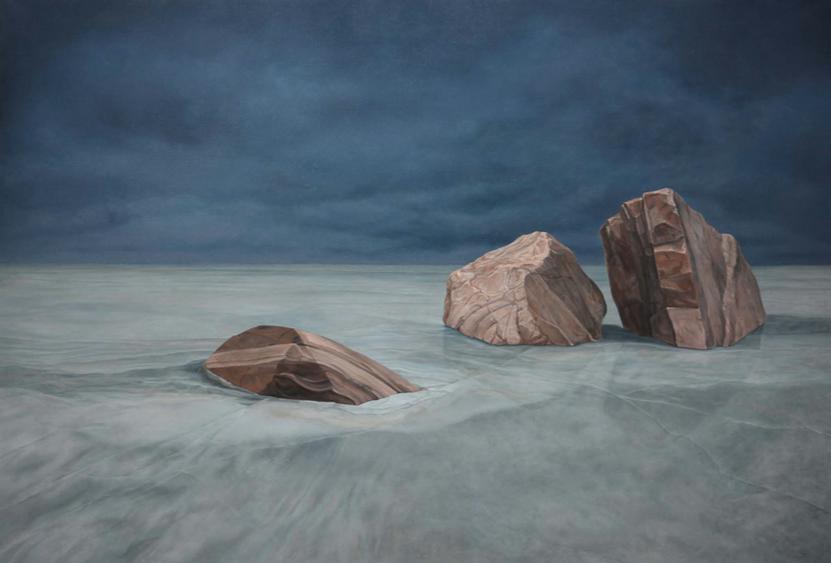 Li Donglu,  Pierres , huile sur toile, 2016. Courtoisie de l'artiste et d'A2Z Gallery