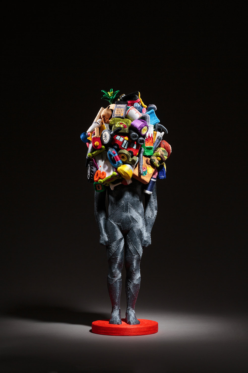 June Lee,  Weight of Human (No. 4) , 2017, Thread on resin cast and clay, 60 x 23 x 20 cm. Courtesy of the artist and Artvera's Gallery.