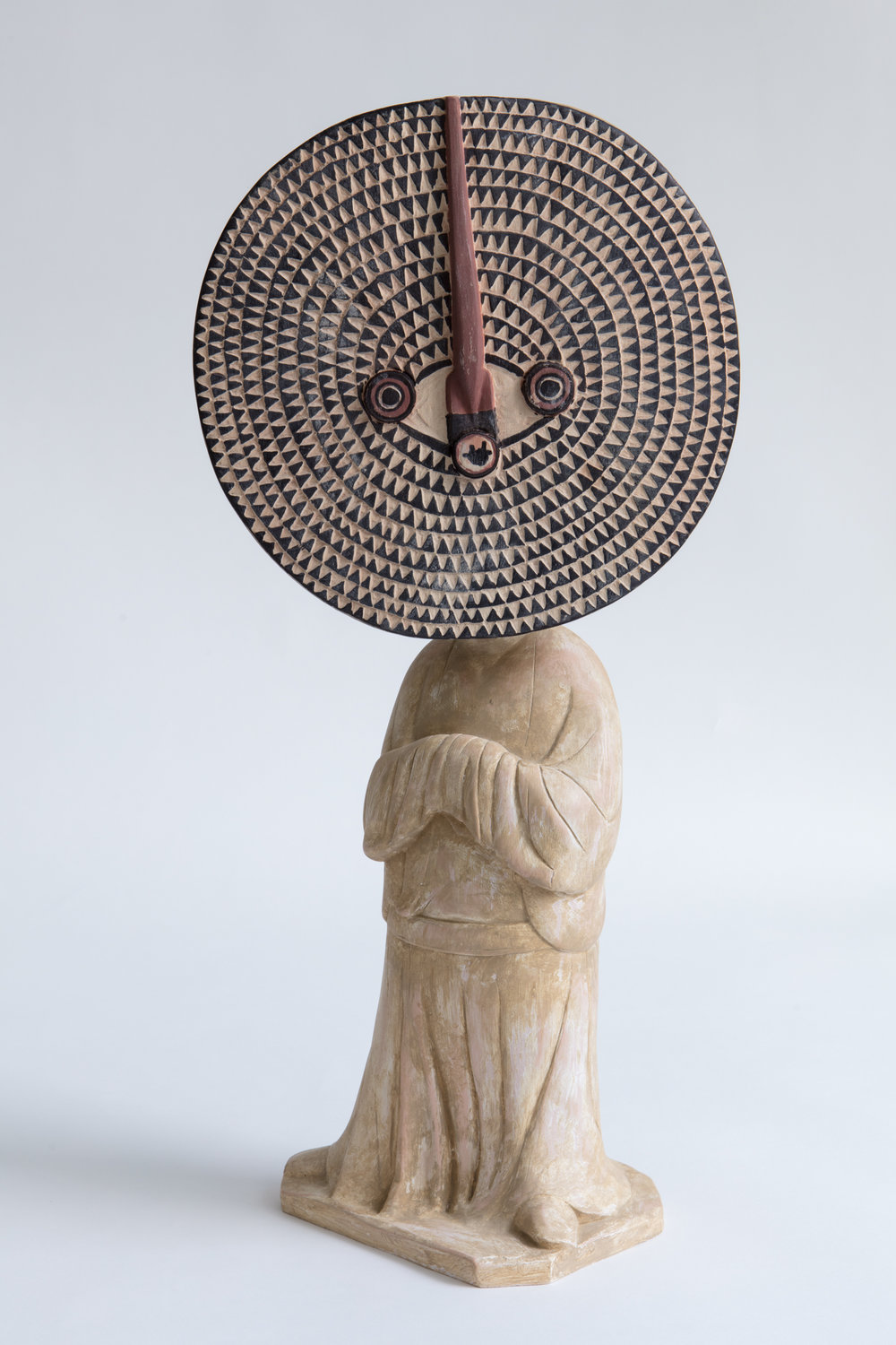 XU ZHEN®,  Evolution-Standing Female Attendant , 2017, Bwa Bobo Mask, Mineral-based composite, mineral pigments, stainless 60 x 27 x 19 cm. Edition of 99. Courtesy of the artist & MadeIn Gallery.