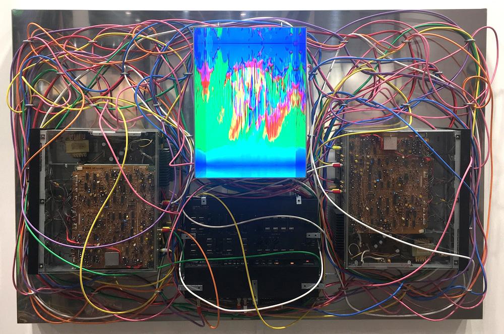 Masayuki Kawai,  Video Feedback Configuration no. 5 Mirrored , 2018, Mixed media, 150 × 100 × 40 cm. Courtesy of the artist and MORI YU GALLERY.