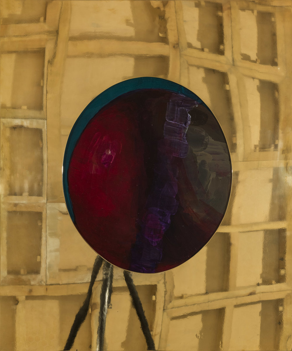 Zhang Miao,  Round , 2015, Oil on canvas, brass foundry, 63 x 52cm. Courtesy the artist & C-Space+Local