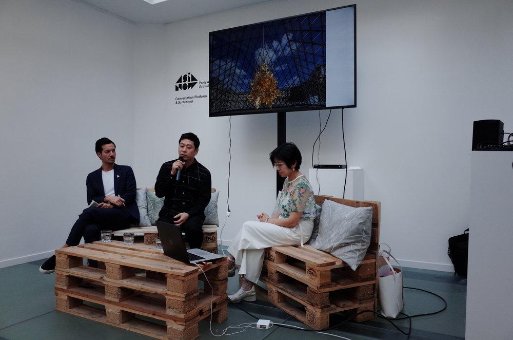 Yuko Hasegawa, artistic director of the Museum of Contemporary Art, Tokyo, Kohei Nawa, artist
