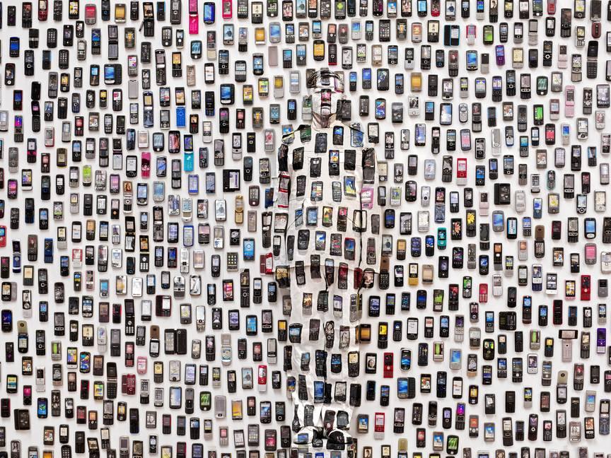"Mobile Phones, ""Hiding in the City,"" 2012 © Liu Bolin / Courtesy Galerie Paris-Beijing"