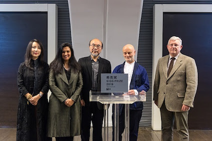 From left to right, Liu Li Anna, president of the CCAA; Suhanya Raffel, executive director of M+; Victor Lo Chung-wing, chairman of M+'s board; Uli Sigg, founder of the CCAA; and Duncan Pescod, chief executive officer of the West Kowloon Cultural District Authority. Courtesy West Kowloon Cultural District Authority