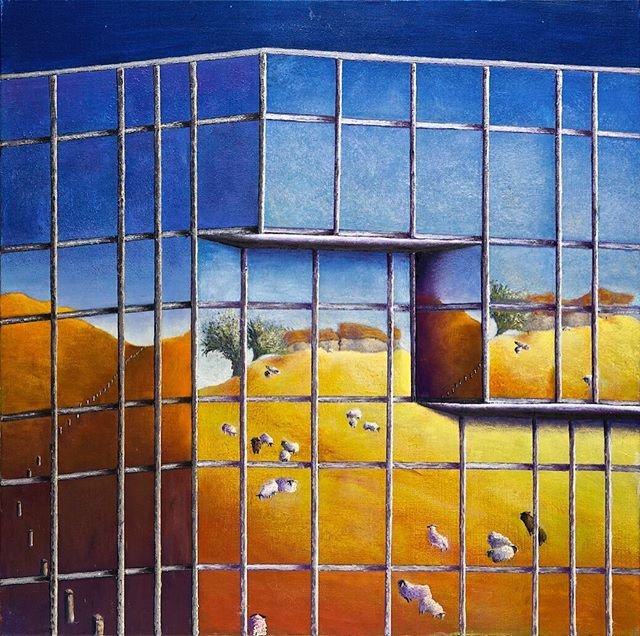. LONDON NW1 Another image of the office block I love painting.  However, on this occasion I decided to ignore the actual reflection and substitute it for a flock of sheep grazing peacefully on a remote hillside on a summer afternoon. The woman who bought the picture was delighted with the notion of there being such a landscape in London NWI. Oil on Canvas 80 x 80cm