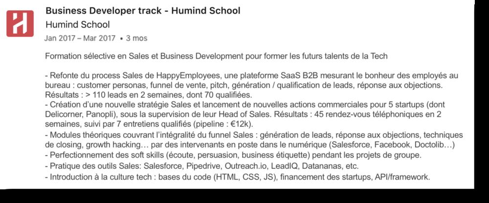 Certificat sur LinkedIn pour la formation Tech Business