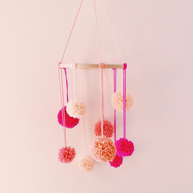 been busy beavering away making these Pom Pom mobiles ✨ avails soon along with other homeware-y bits!