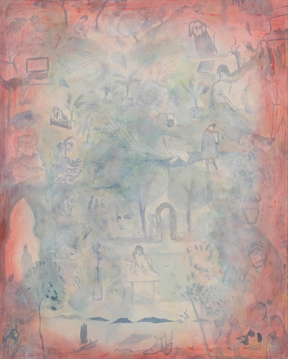 """Isabelle Fein: """"Mit beiden Füßen auf dem Boden"""", 2016 Ink and oil on canvas 110 x 90 cm"""