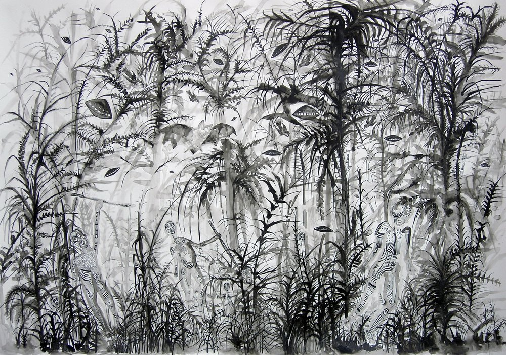 "Zoi Gaitanidou: ""Attack"", 2007 Ink on paper 100 x 70 cm"