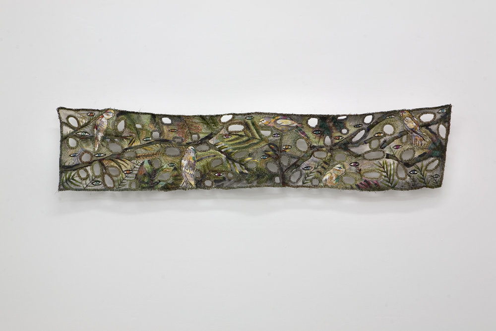 "Zoi Gaitanidou: ""Alert"", 2009 Acrylic and thread on canvas 152 x 30 cm"