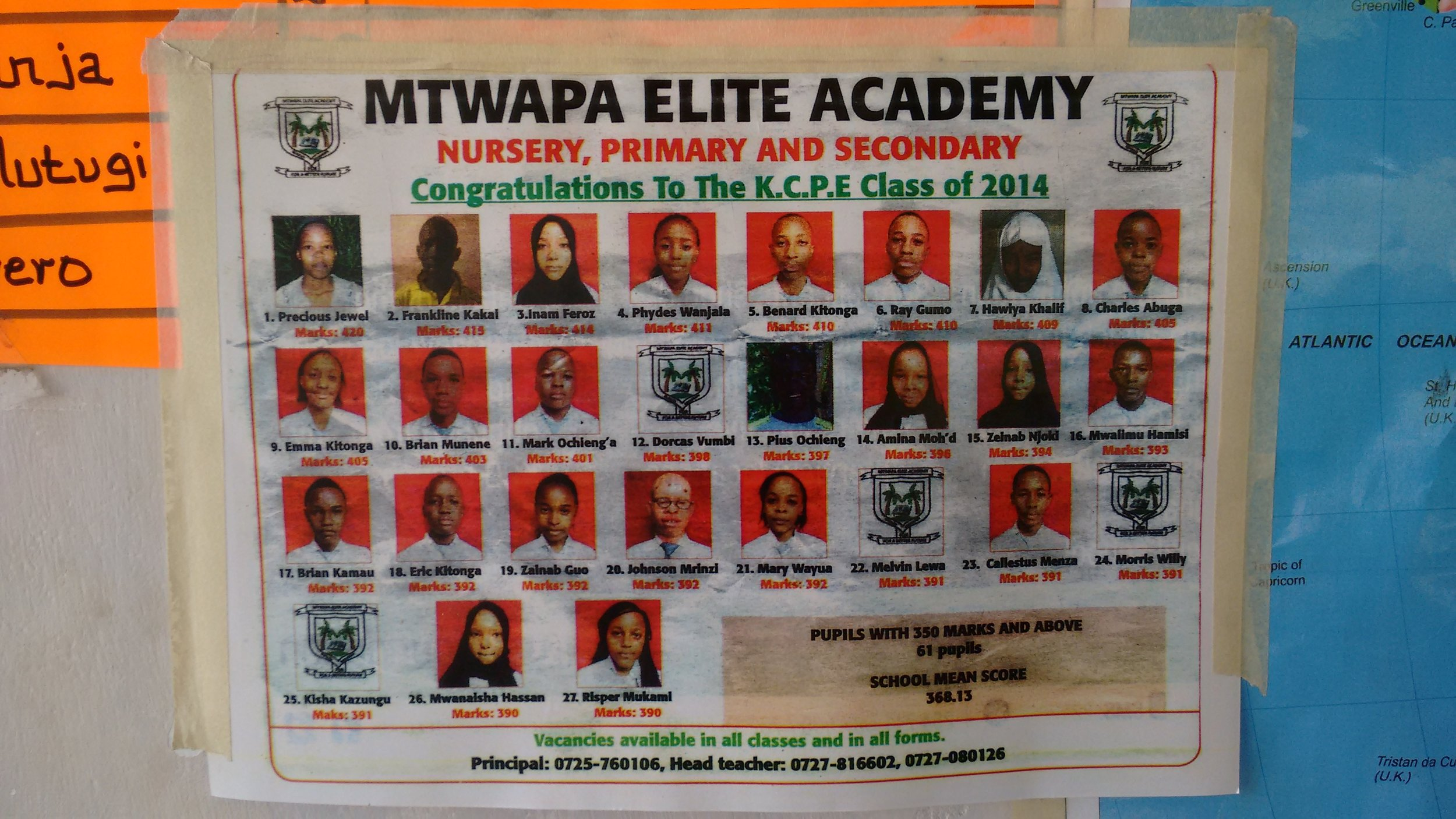 Mtwapa Elite Academy results poster