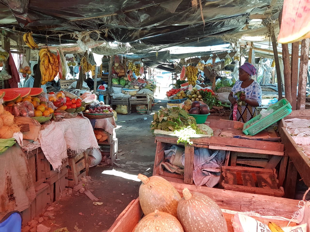 A fruit and vegetable market on Mtwapa's main road
