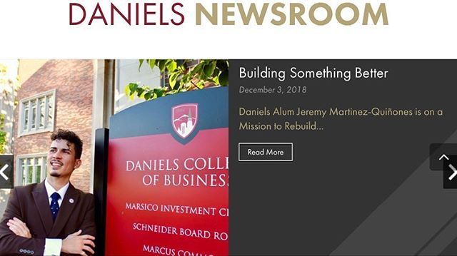 Thankful for the endless support the University of Denver - Daniels College of Business has given me with their latest article about my story and my company Denovo Development, LLC! 🙏🏽🇵🇷 - Feel free to check out the full article below: https://daniels.du.edu/building-something-better/