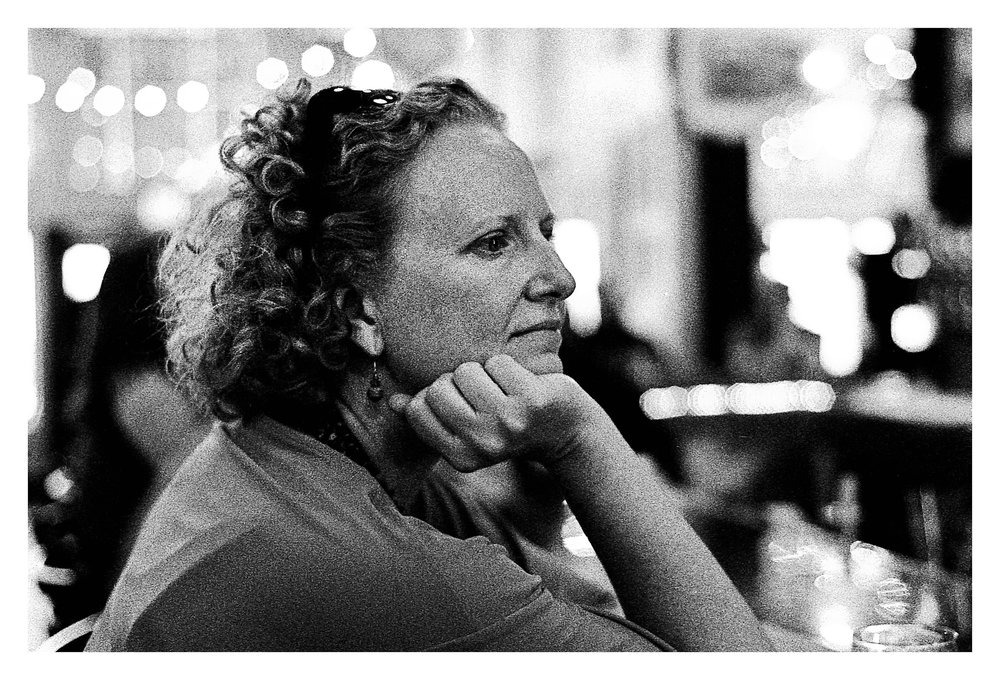 Renee deep in thought - Nikon F5 with 50mm f/1.4 lens at f/2.8 in A-Priority mode on Kodak TMAX P3200 film