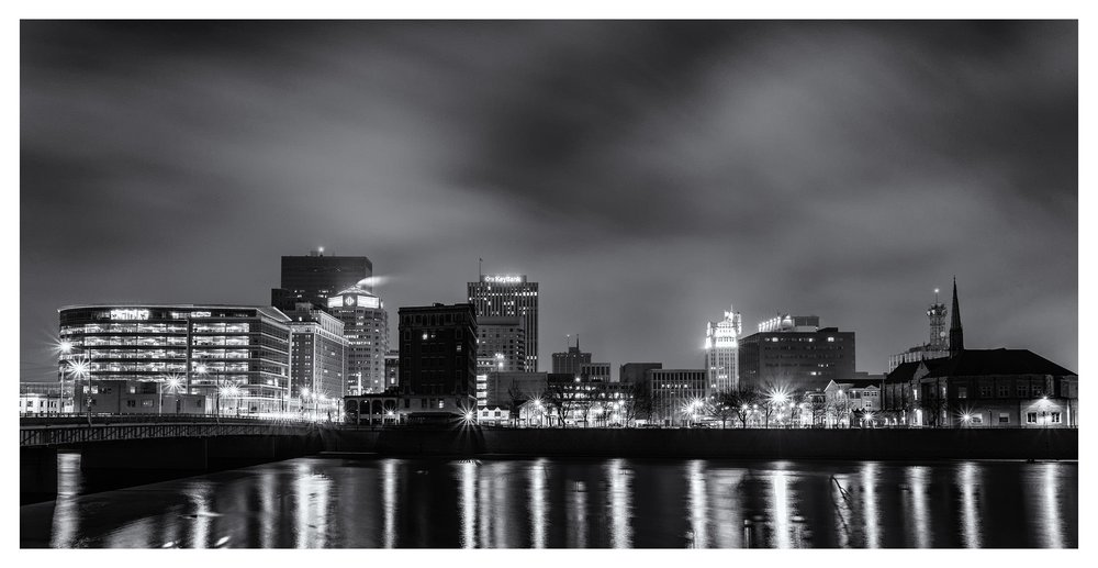 Dayton Early Morning B&W - a five image digitally-stitched pano in 2x1 ratio