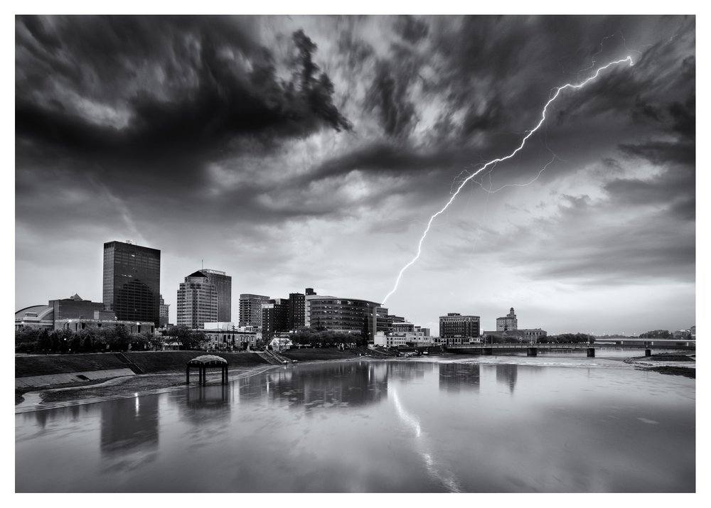 Dayton Skyline during a severe thunderstorm. Probably not one of my brighter ideas to stand on a bridge with lightning strikes all around holding an umbrella over my camera and tripod.