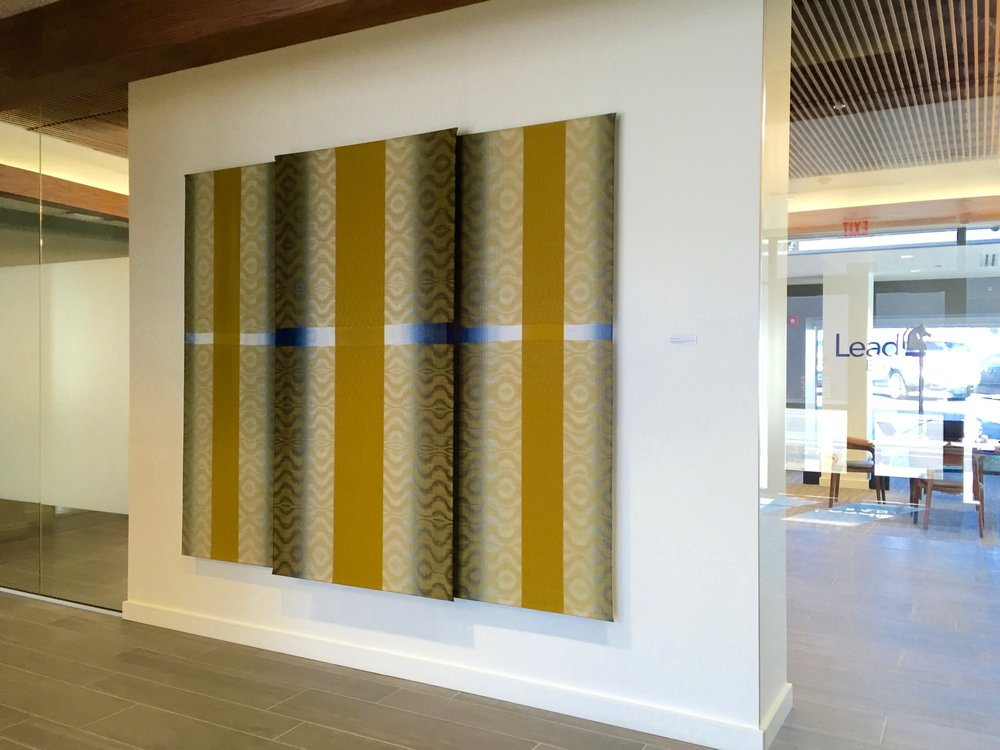 Woven Shades of Blue with Gold Triptych Art  Lead Bank in the Crossroads  Kansas City, MO