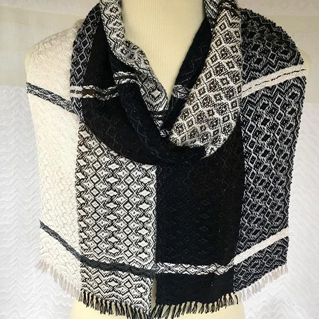 Half Dark Brown and Gray / Half White with White and Navy Bamboo...a new woven scarf for you.