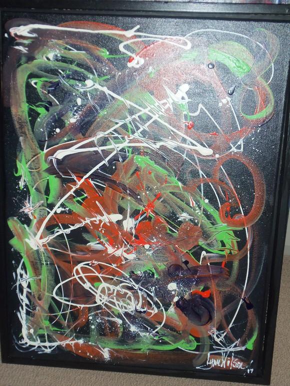 580_Abstract_Black_Orange_Green_Purple_White_Framed (1).JPG